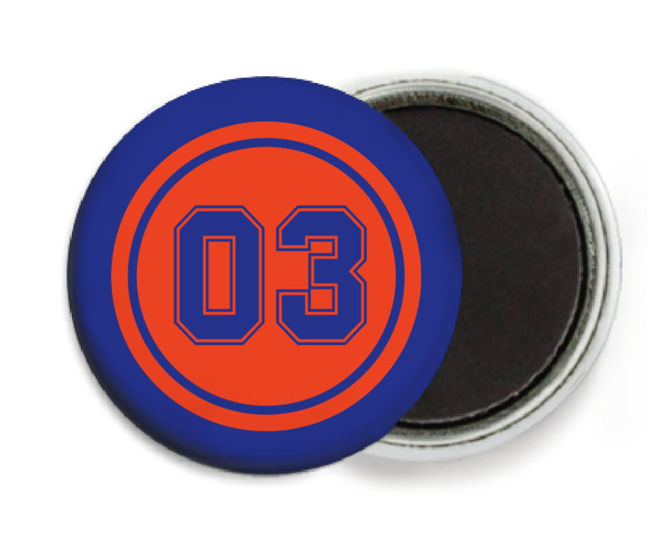 custom button magnets - orange & royal - baseball (set of 6)