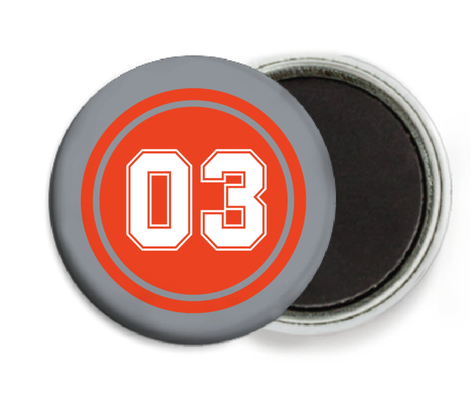 custom button magnets - orange & silver - baseball (set of 6)