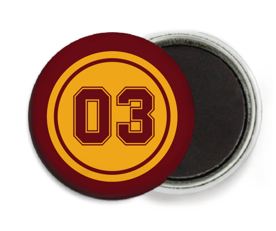 custom button magnets - gold & maroon - baseball (set of 6)