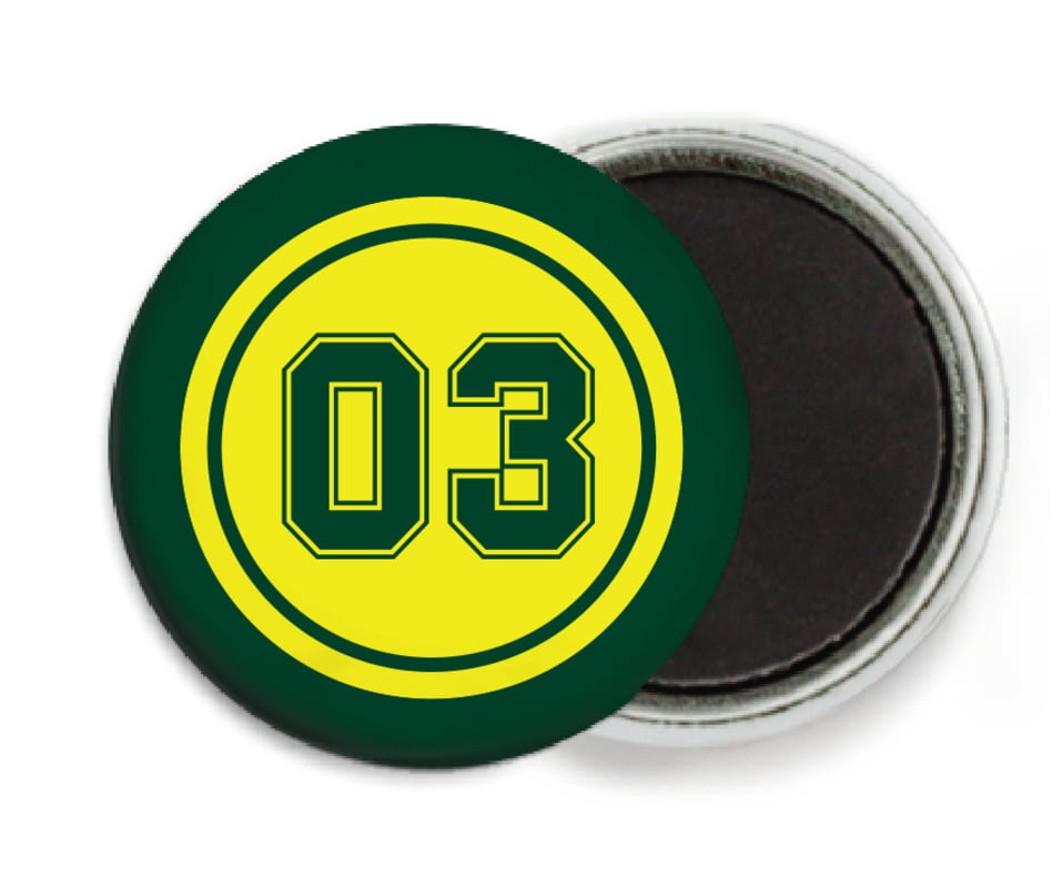 custom button magnets - yellow & forest - baseball (set of 6)