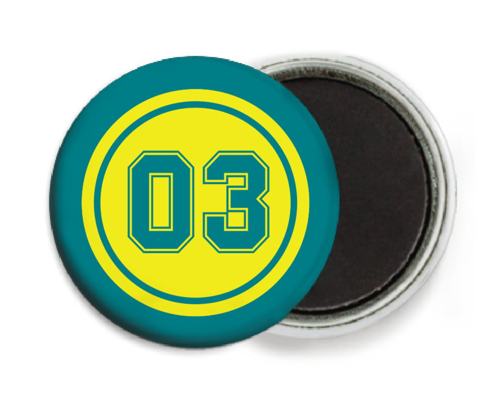 custom button magnets - yellow & teal - baseball (set of 6)