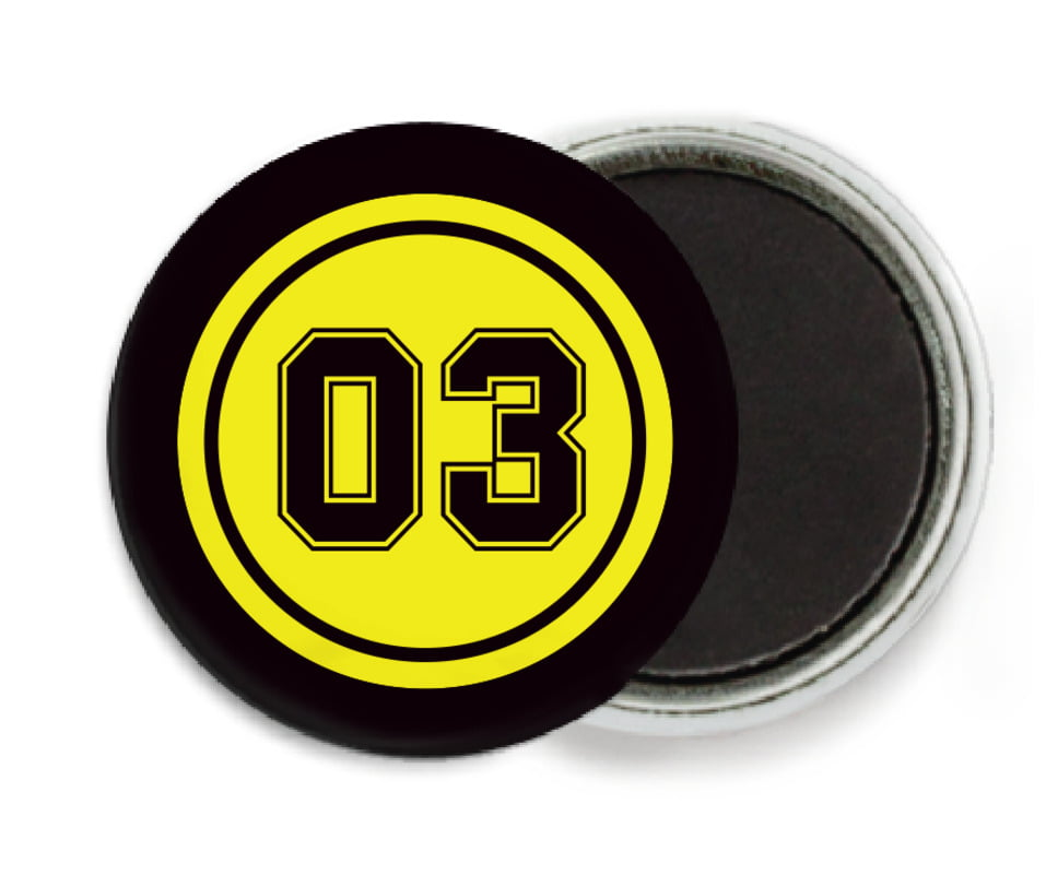custom button magnets - yellow & black - baseball (set of 6)