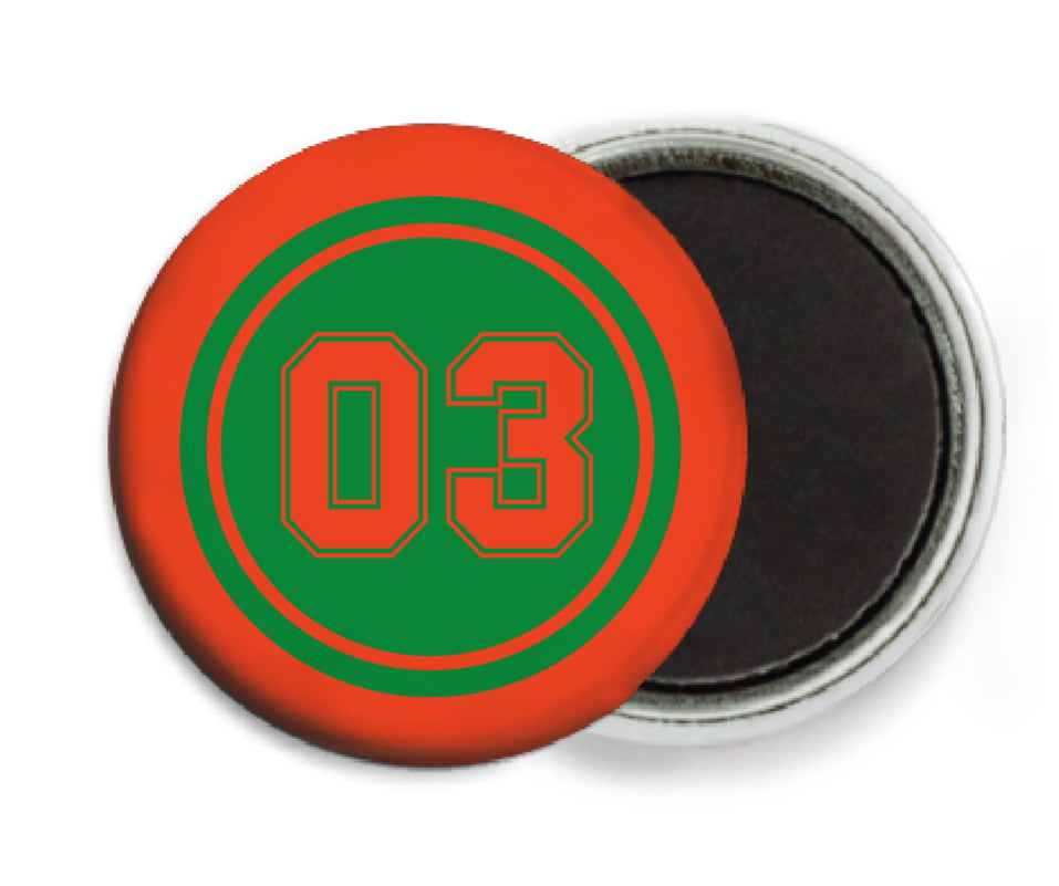 custom button magnets - green & orange - baseball (set of 6)