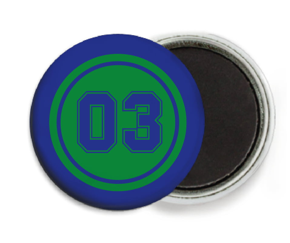 custom button magnets - green & royal - baseball (set of 6)