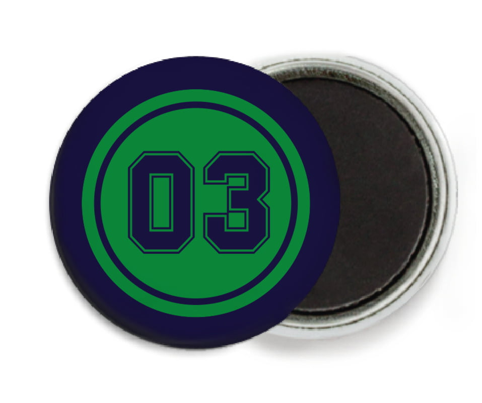 custom button magnets - green & navy - baseball (set of 6)
