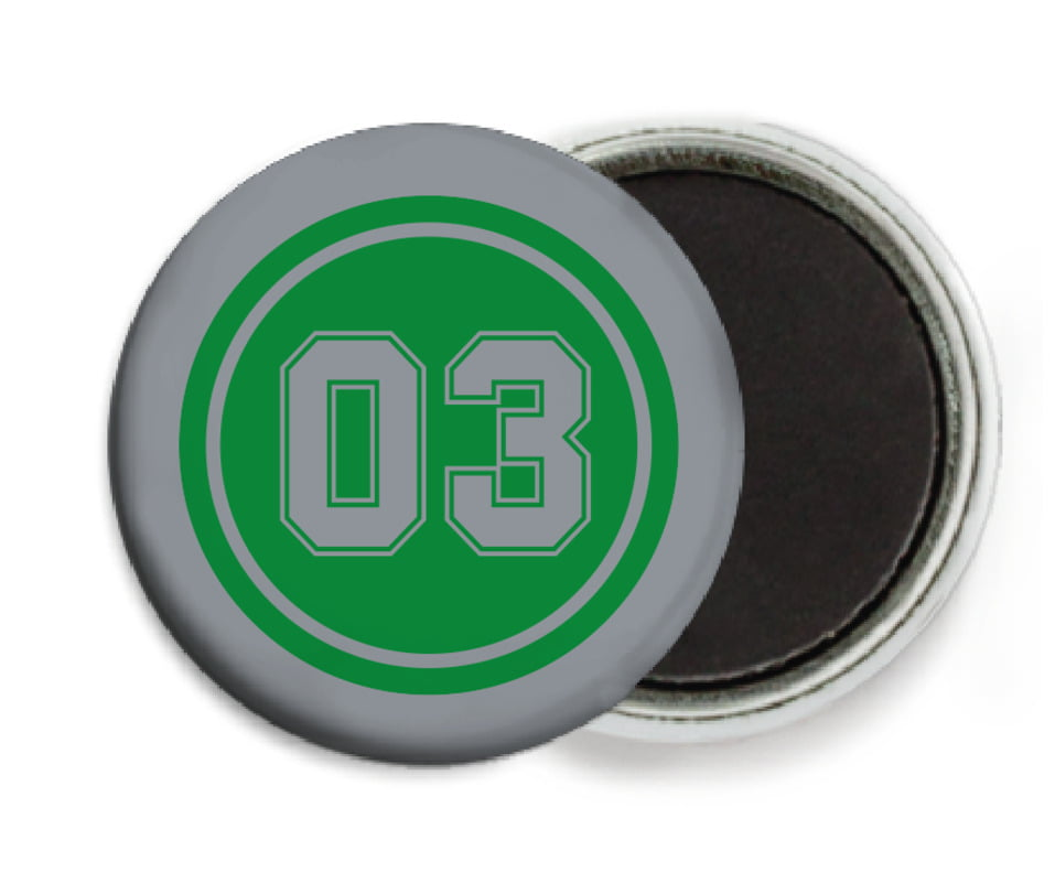 custom button magnets - green & silver - baseball (set of 6)