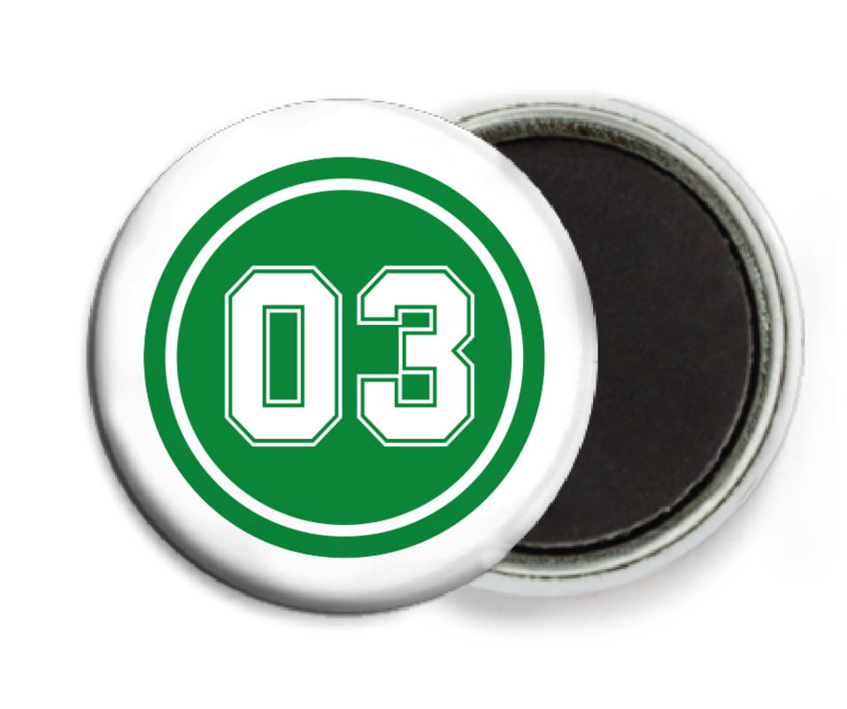 custom button magnets - green & white - baseball (set of 6)