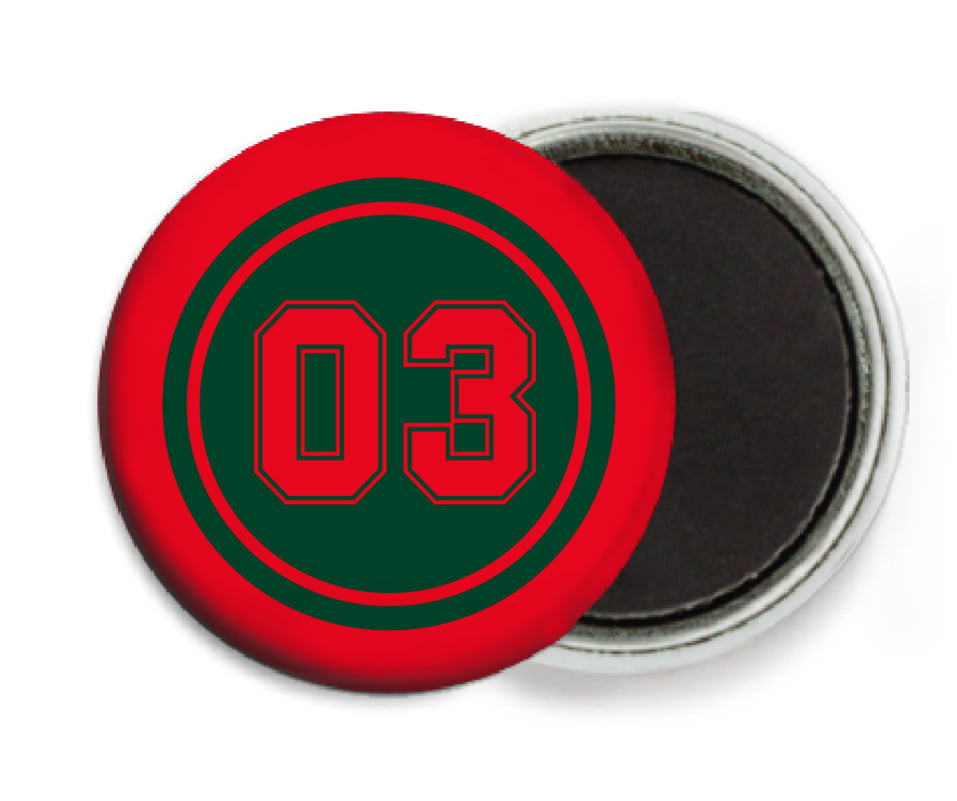 custom button magnets - forest & red - baseball (set of 6)