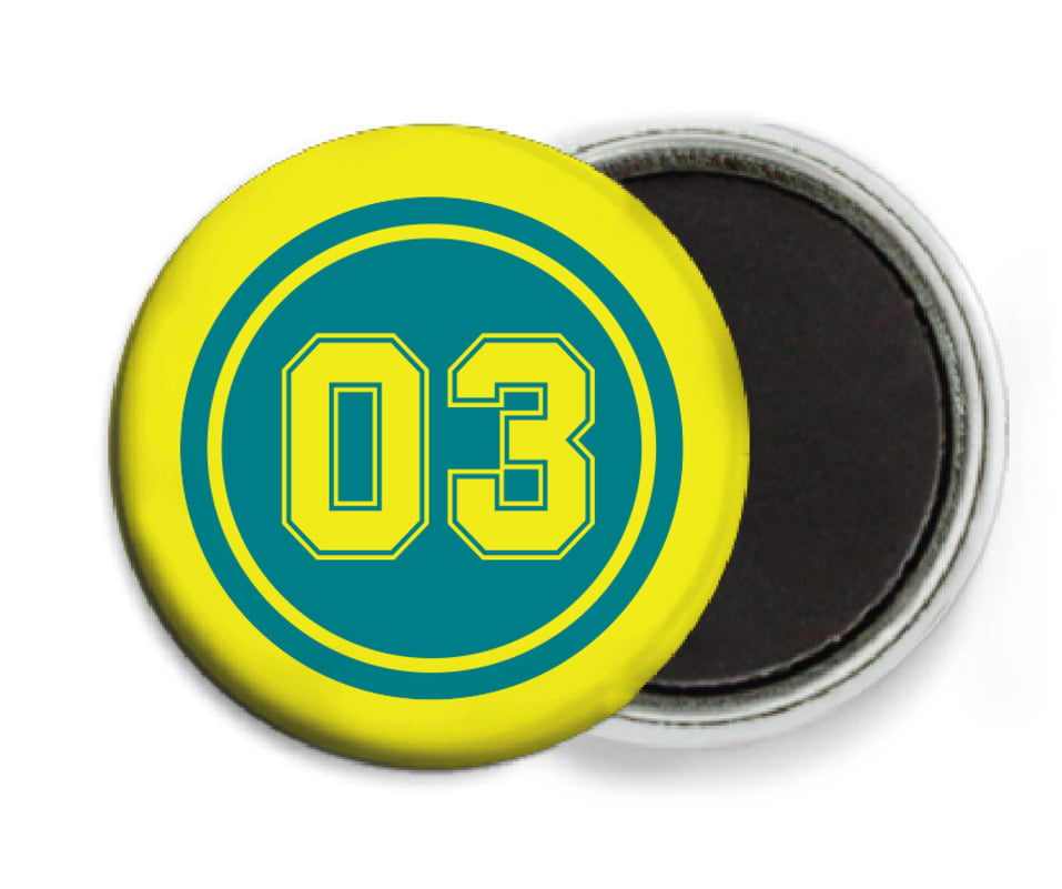 custom button magnets - teal & yellow - baseball (set of 6)