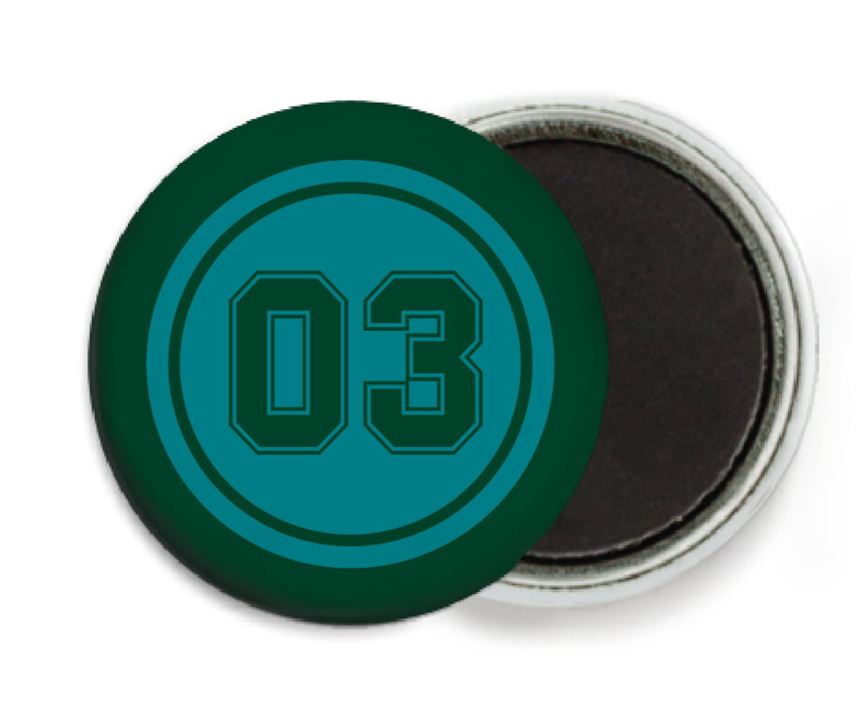 custom button magnets - teal & forest - baseball (set of 6)