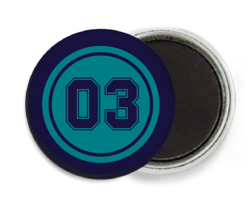 custom button magnets - teal & navy - baseball (set of 6)
