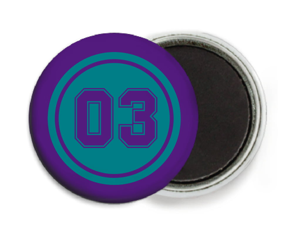 custom button magnets - teal & purple - baseball (set of 6)