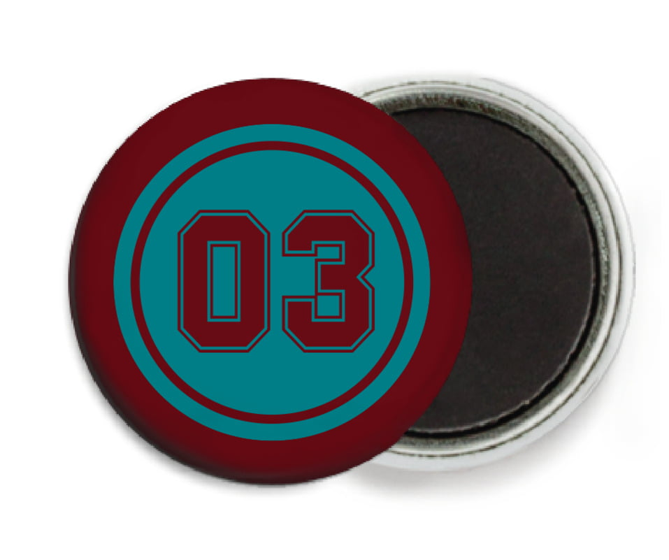 custom button magnets - teal & maroon - baseball (set of 6)