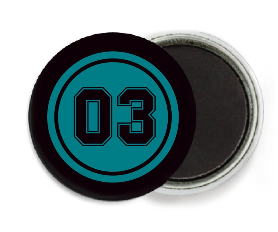 custom button magnets - teal & black - baseball (set of 6)