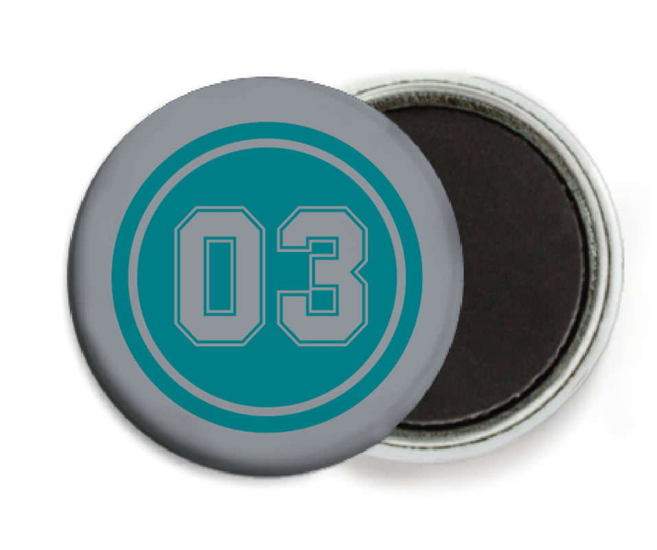 custom button magnets - teal & silver - baseball (set of 6)