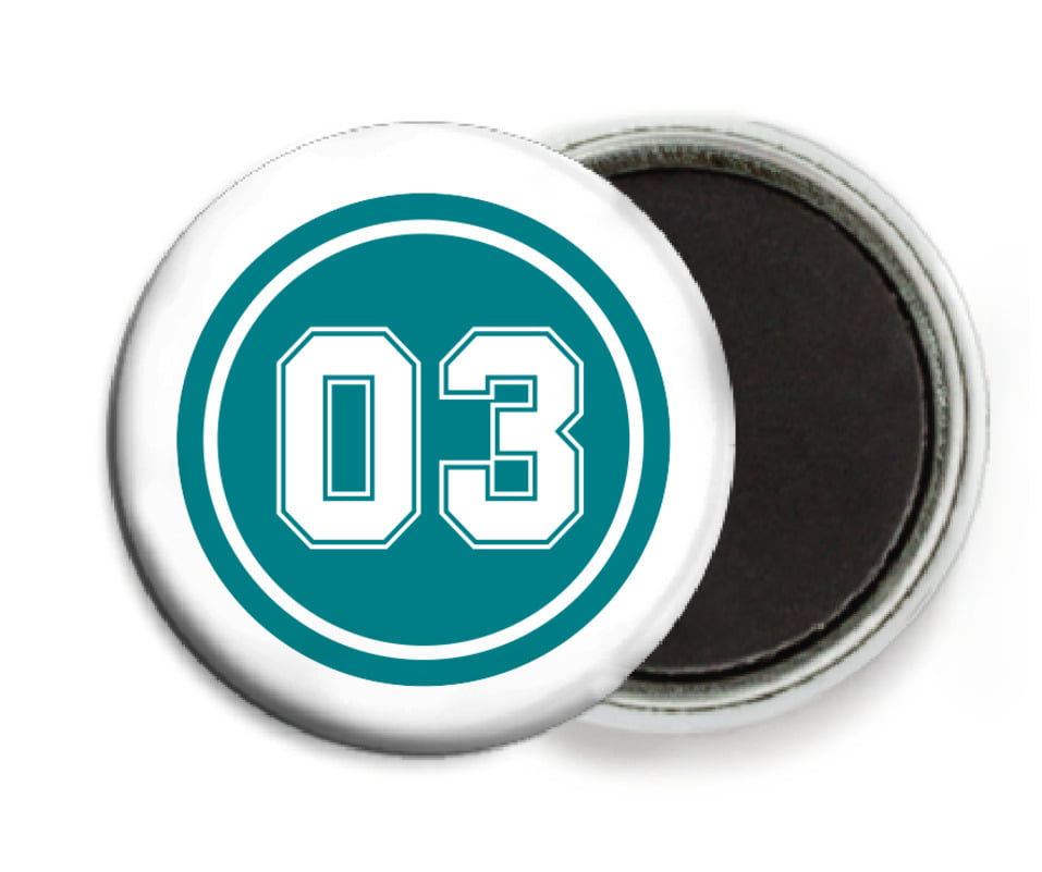 custom button magnets - teal & white - baseball (set of 6)