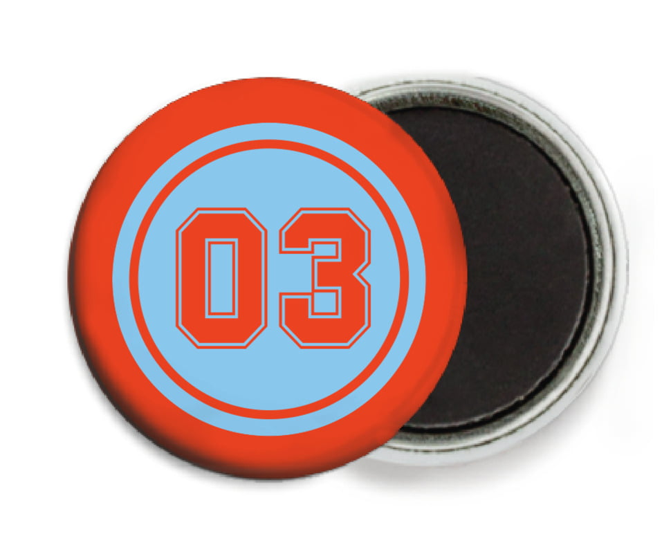 custom button magnets - light blue & orange - baseball (set of 6)
