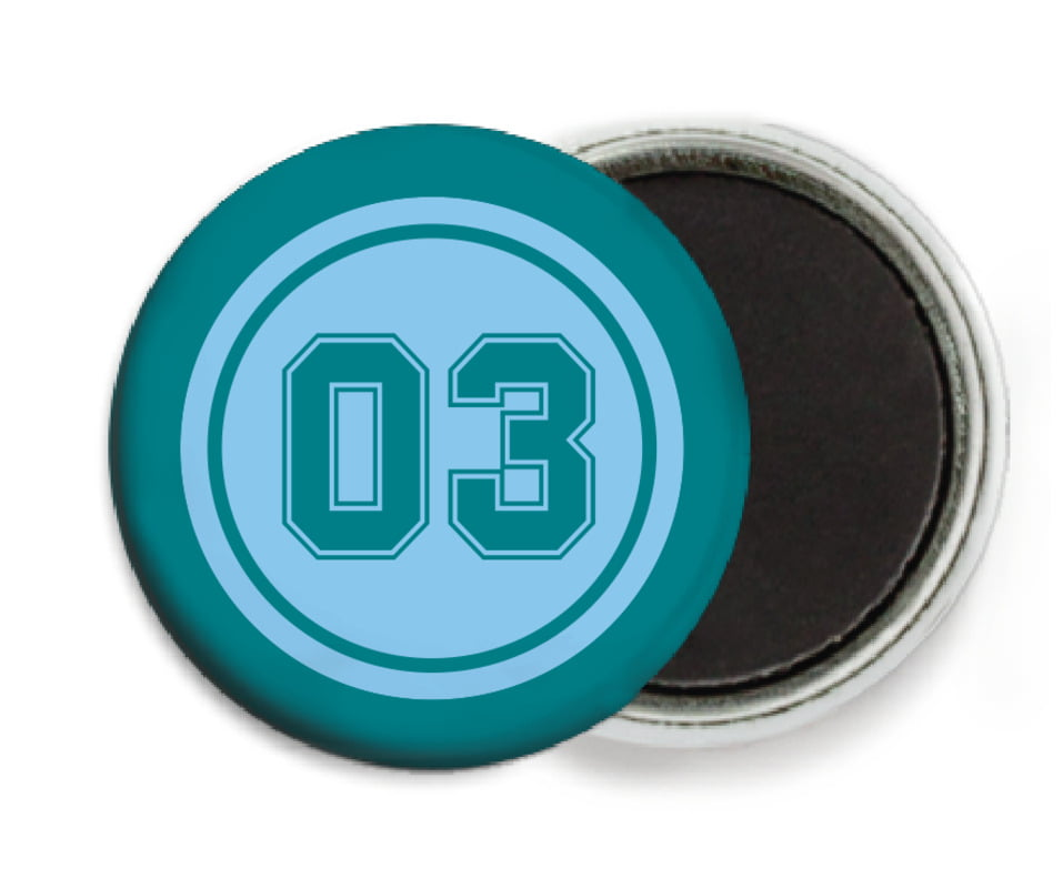 custom button magnets - light blue & teal - baseball (set of 6)
