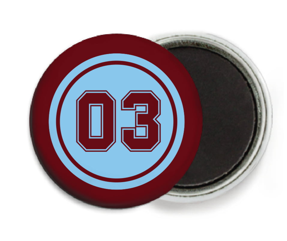 custom button magnets - light blue & maroon - baseball (set of 6)