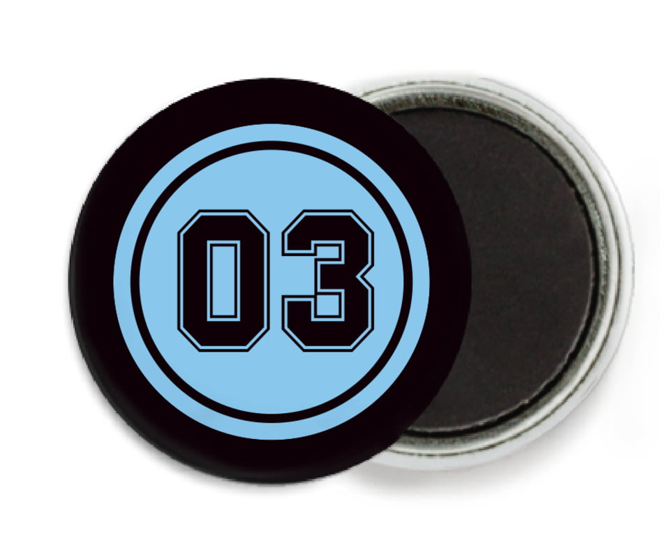 custom button magnets - light blue & black - baseball (set of 6)