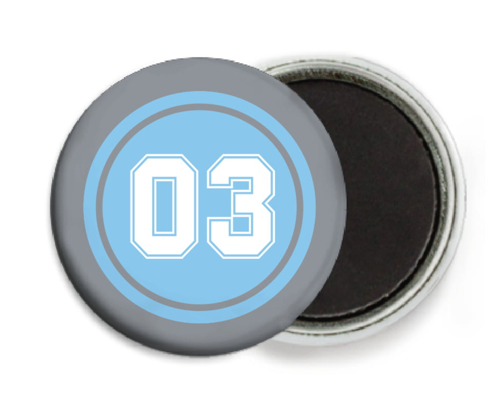custom button magnets - light blue & silver - baseball (set of 6)