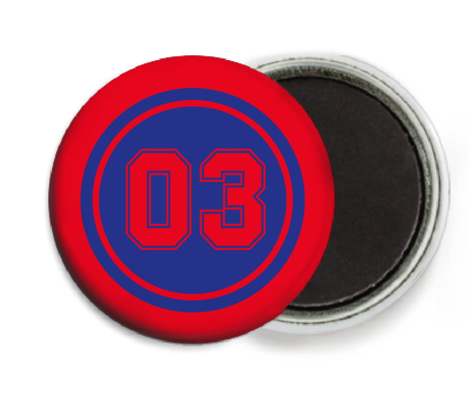 custom button magnets - royal & red - baseball (set of 6)