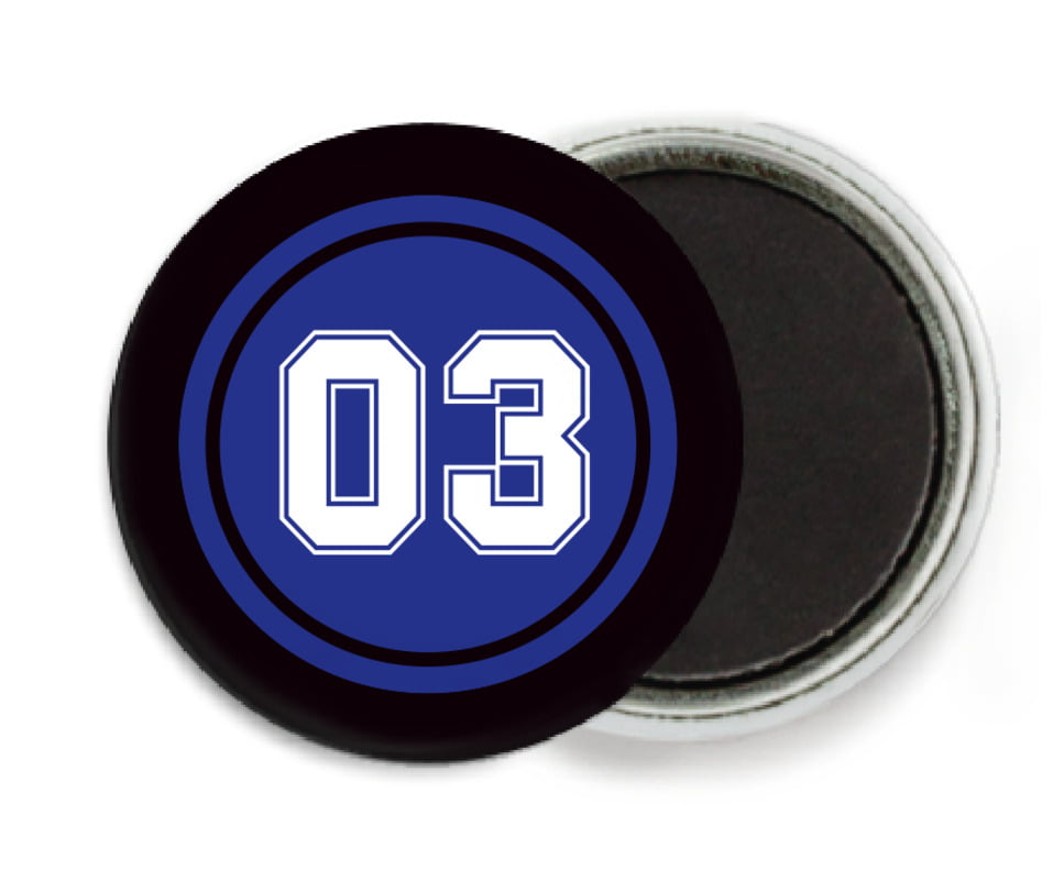 custom button magnets - royal & black - baseball (set of 6)