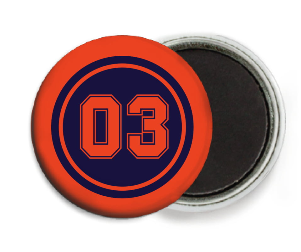 custom button magnets - navy & orange - baseball (set of 6)