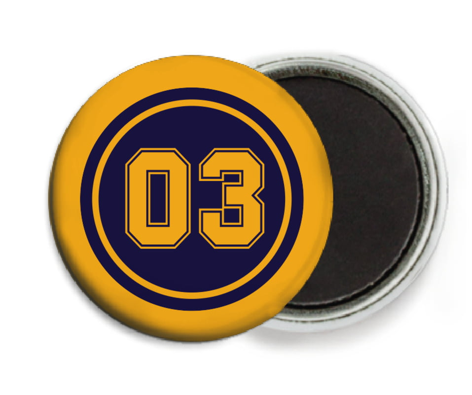 custom button magnets - navy & gold - baseball (set of 6)