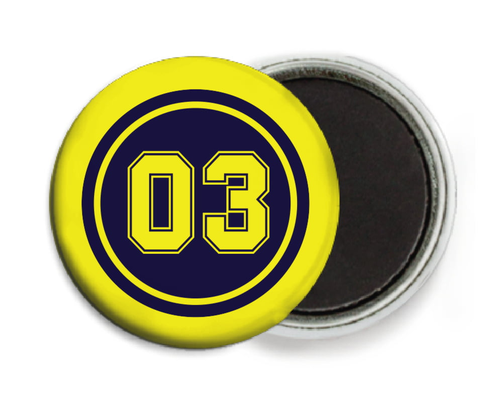 custom button magnets - navy & yellow - baseball (set of 6)