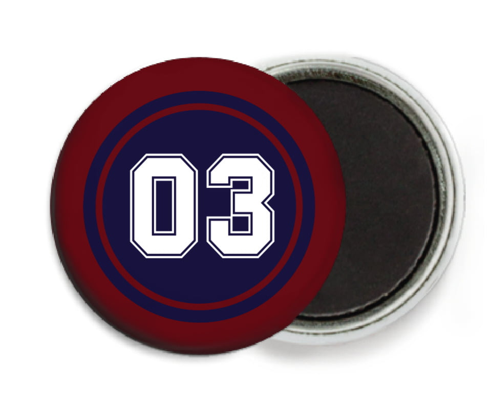 custom button magnets - navy & maroon - baseball (set of 6)