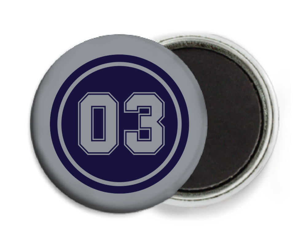 custom button magnets - navy & silver - baseball (set of 6)