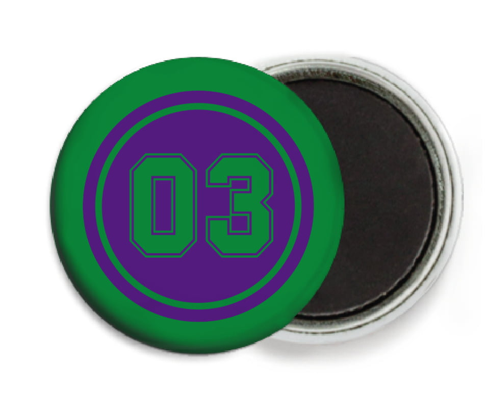 custom button magnets - purple & green - baseball (set of 6)
