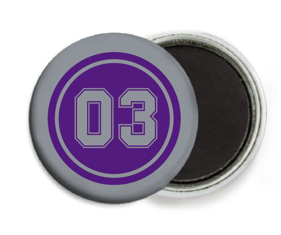 custom button magnets - purple & silver - baseball (set of 6)