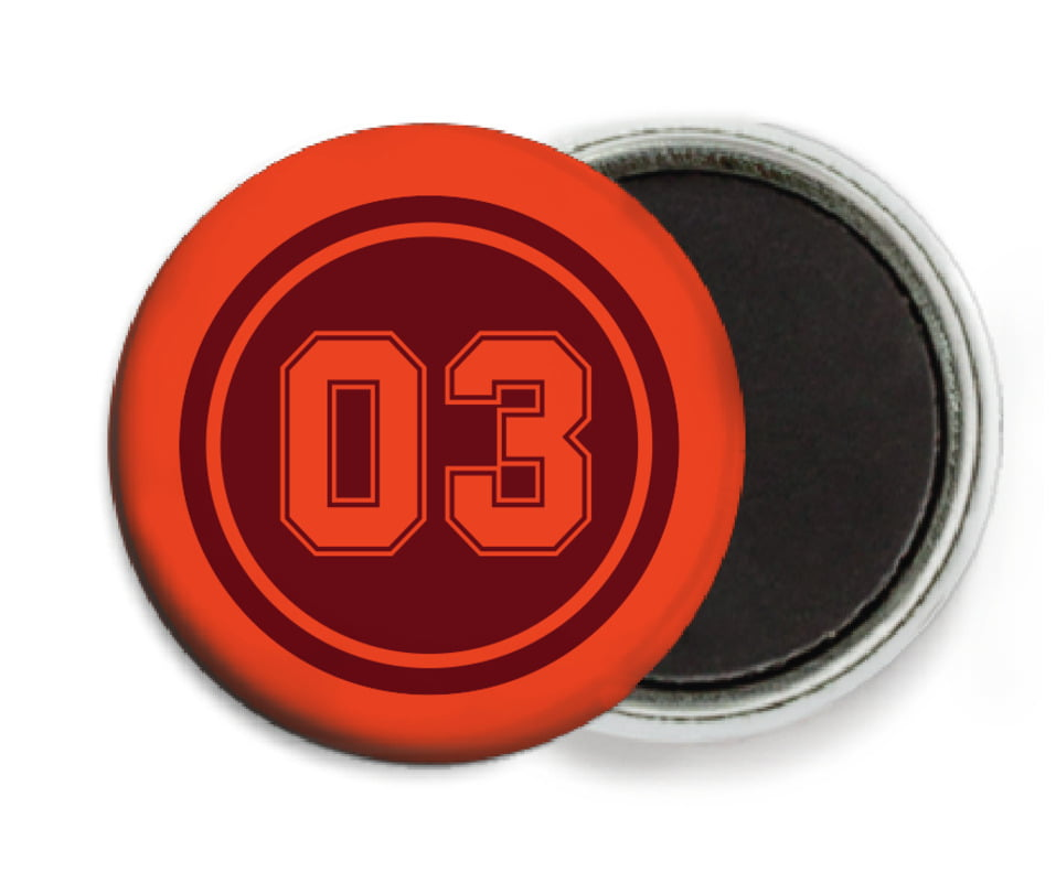 custom button magnets - maroon & orange - baseball (set of 6)