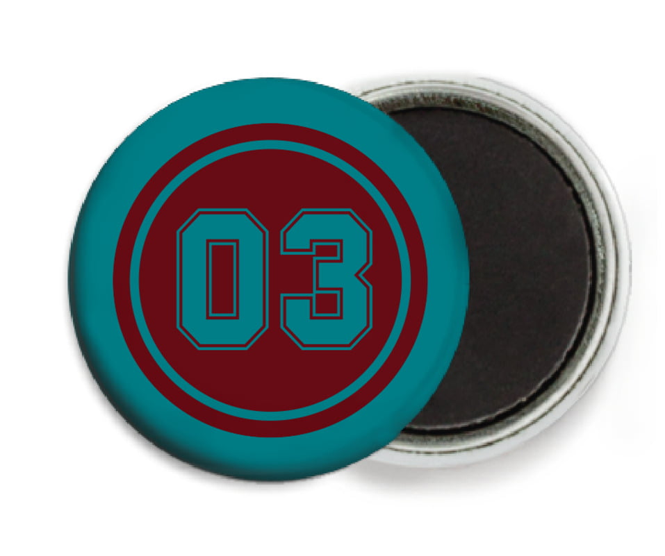 custom button magnets - maroon & teal - baseball (set of 6)
