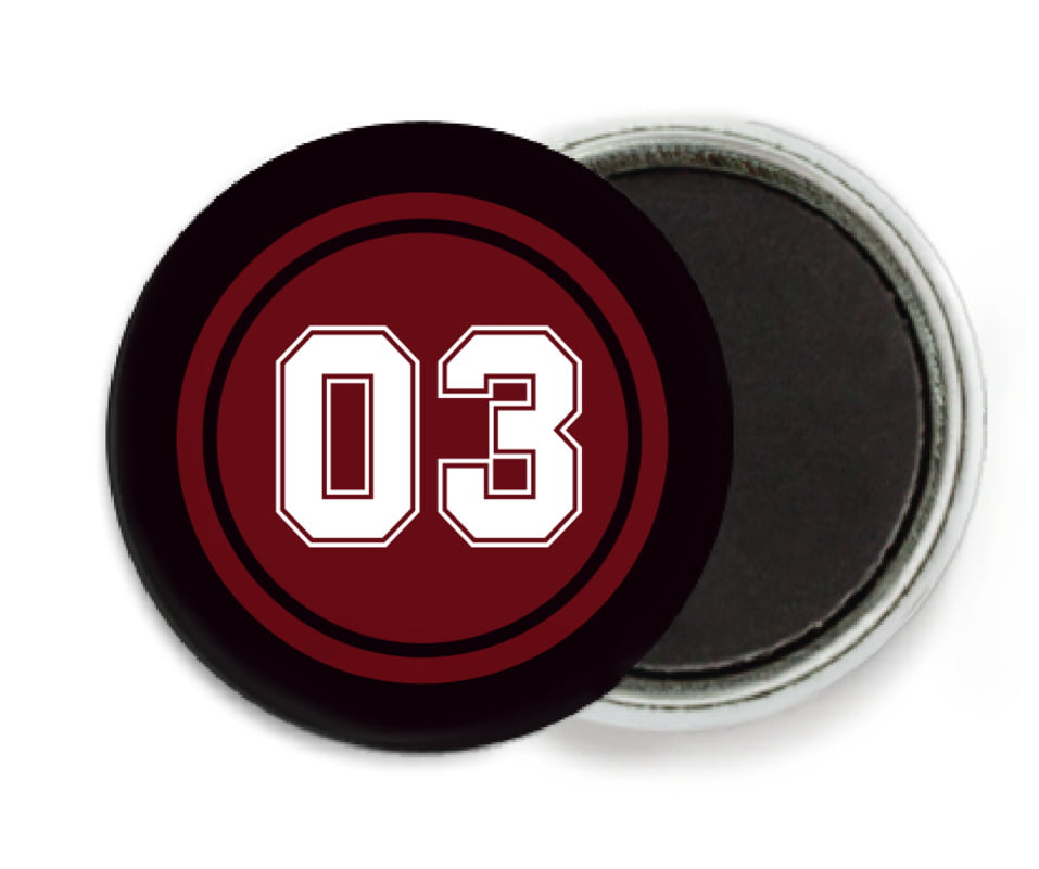 custom button magnets - maroon & black - baseball (set of 6)