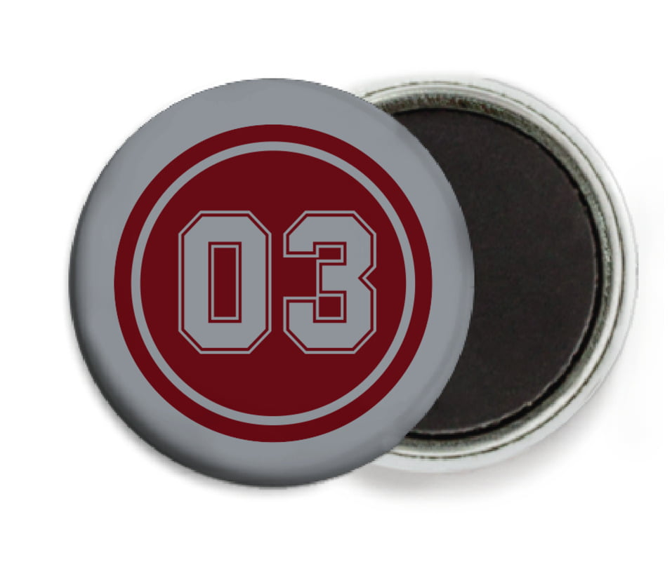 custom button magnets - maroon & silver - baseball (set of 6)