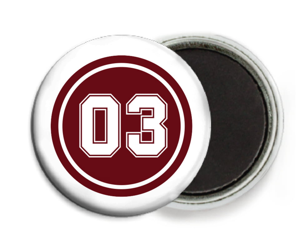 custom button magnets - maroon & white - baseball (set of 6)