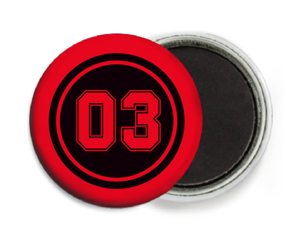custom button magnets - black & red - baseball (set of 6)