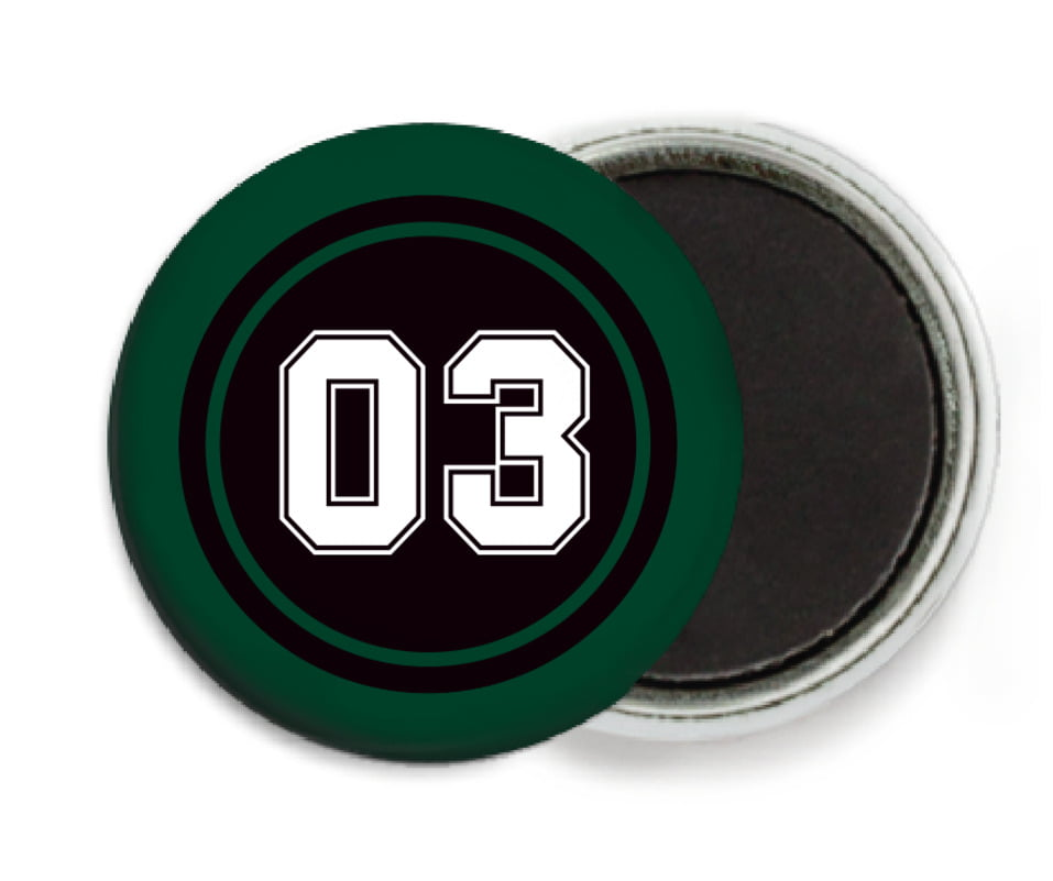 custom button magnets - black & forest - baseball (set of 6)