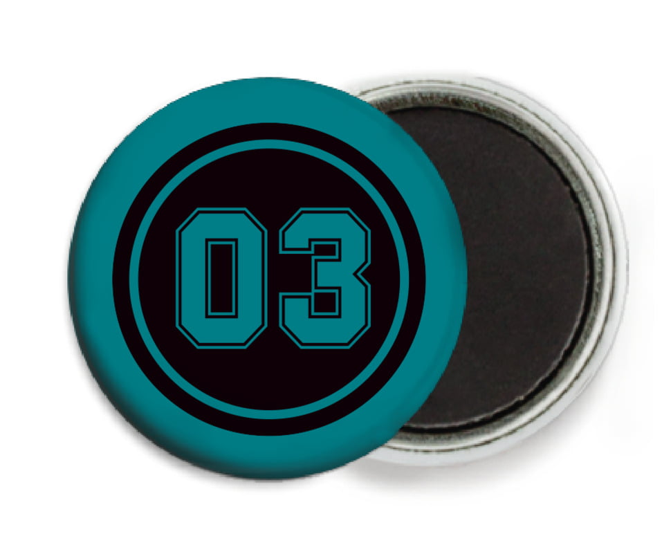 custom button magnets - black & teal - baseball (set of 6)