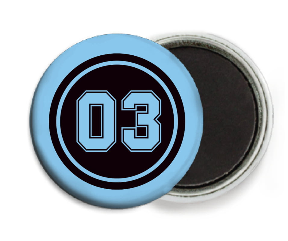 custom button magnets - black & light blue - baseball (set of 6)