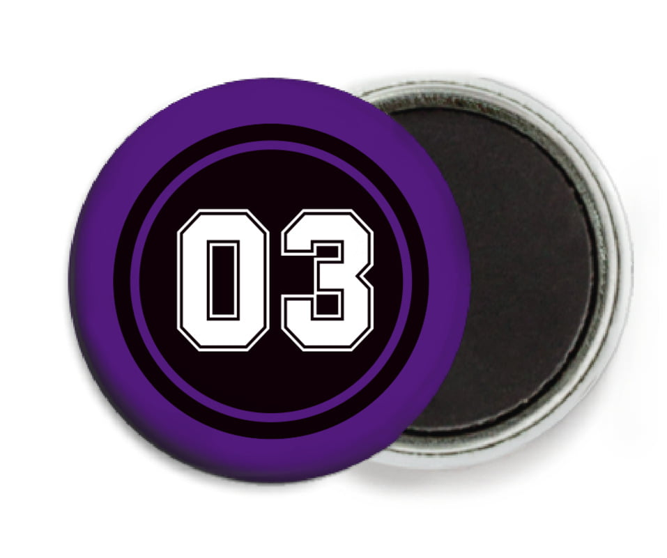 custom button magnets - black & purple - baseball (set of 6)