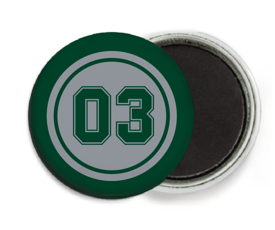 custom button magnets - silver & forest - baseball (set of 6)