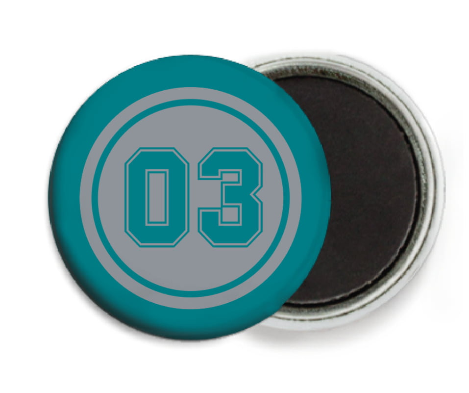 custom button magnets - silver & teal - baseball (set of 6)