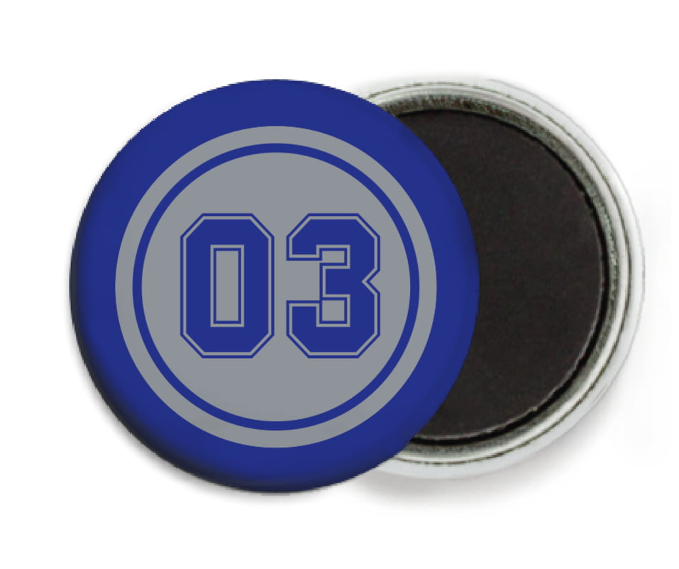 custom button magnets - silver & royal - baseball (set of 6)