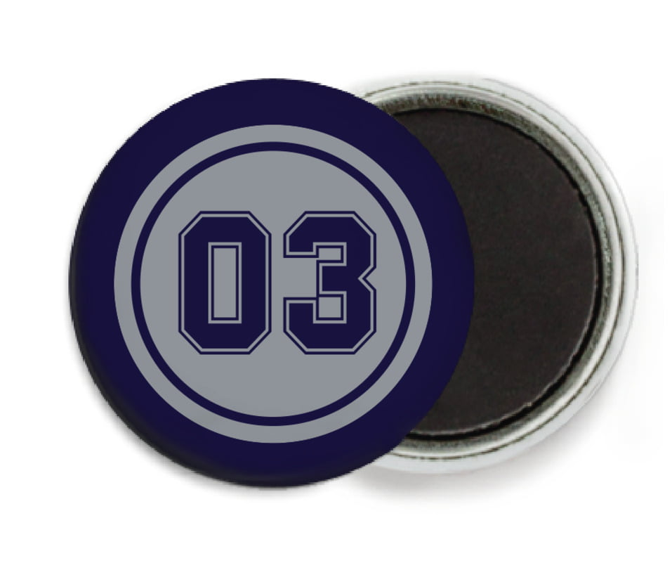 custom button magnets - silver & navy - baseball (set of 6)