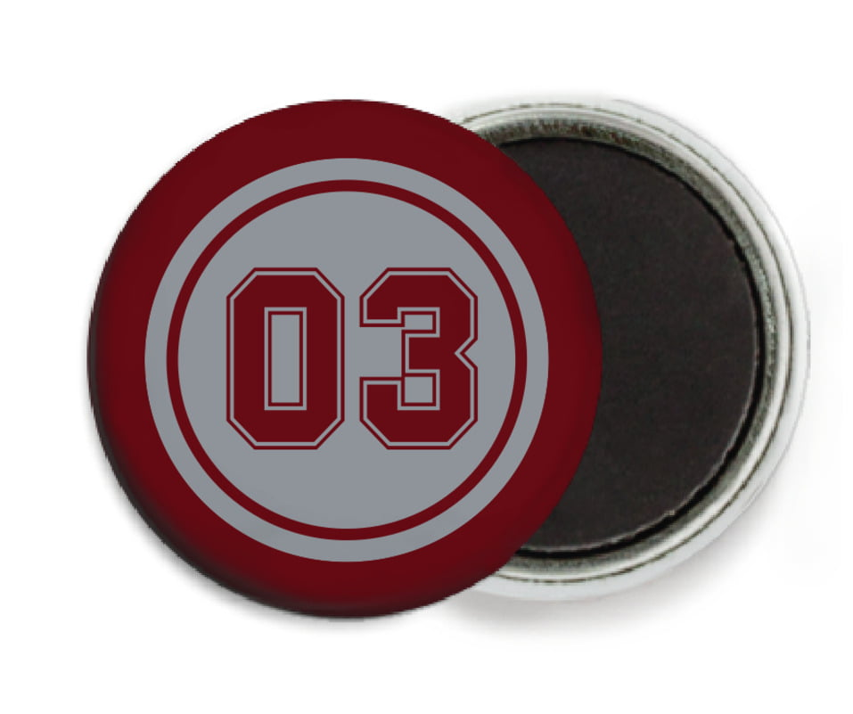 custom button magnets - silver & maroon - baseball (set of 6)
