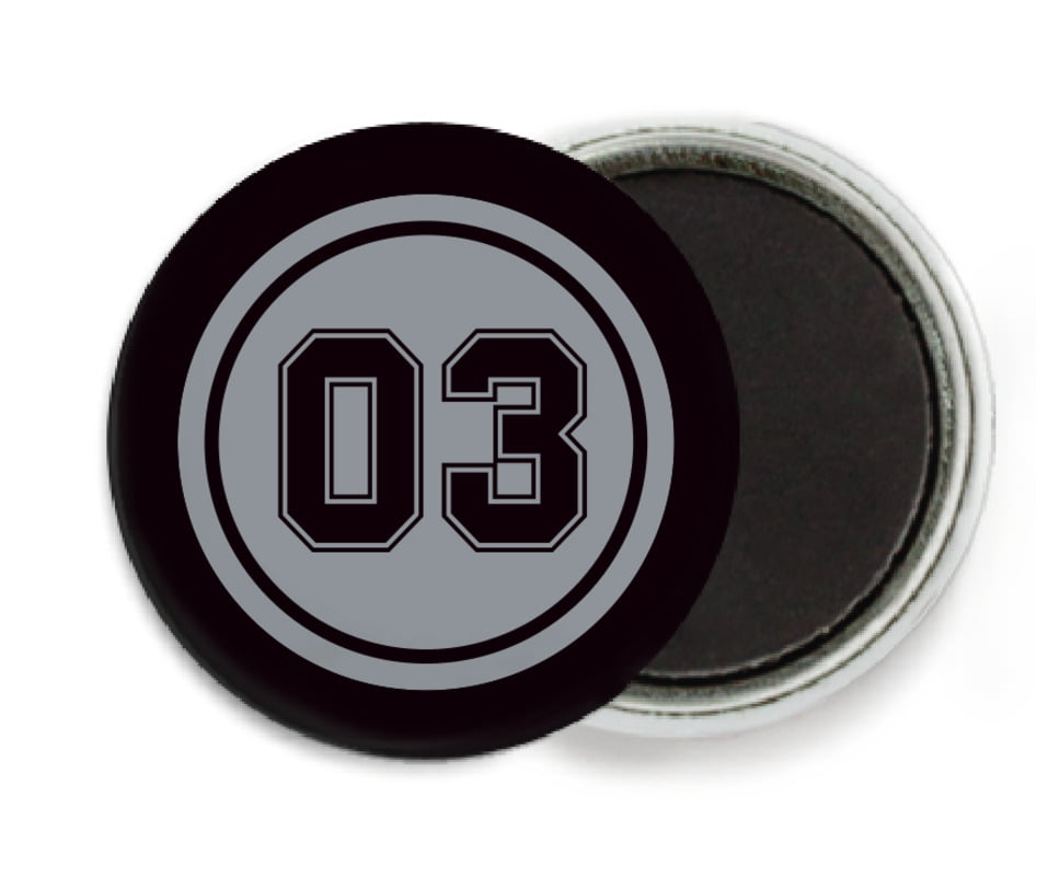 custom button magnets - silver & black - baseball (set of 6)